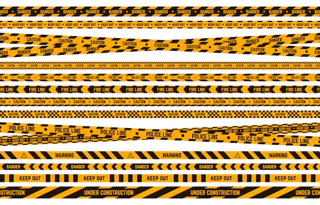 Gefahr polizeiband. vorsicht gelbes und schwarzes klebeband, gestreifte linie des kriminellen umfangs, aufmerksamkeitswarnrand-illustrationssatz. sicherheitsstreifen, kriminelle grenzzone, verbotenes klebeband