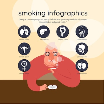 Gefahren des rauchens von infographics vektorabbildung
