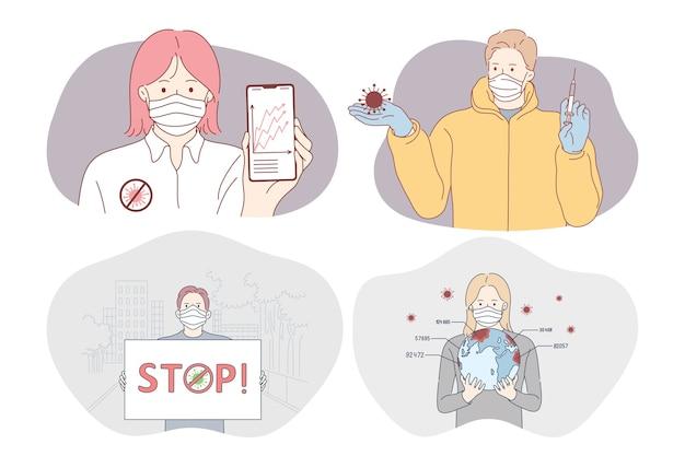 Gefahren- oder coronavirus-infektion, schutz, impfung, epidemie, pandemie, ausbruchskonzept
