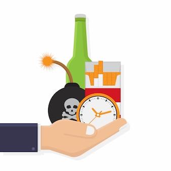 Gefahren von rauchen und alkoholischen getränken