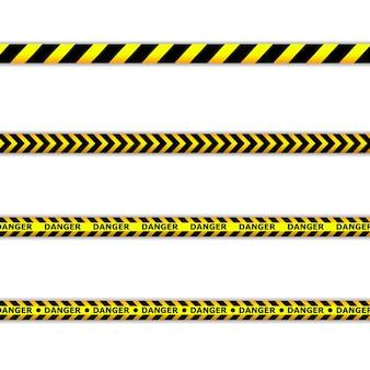 Gefahrenbänder. warnbänder. polizeilinie und nicht überqueren. barrikadenband.