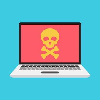 Gefahrenmeldung am laptop