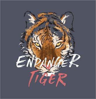 Gefahrenslogan mit tigerillustration