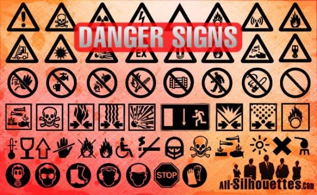 Gefahrenzeichen silhouetten
