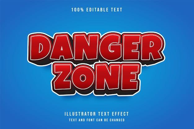 Gefahrenzone, roter gradation-comic-stileffekt des bearbeitbaren texteffekts 3d