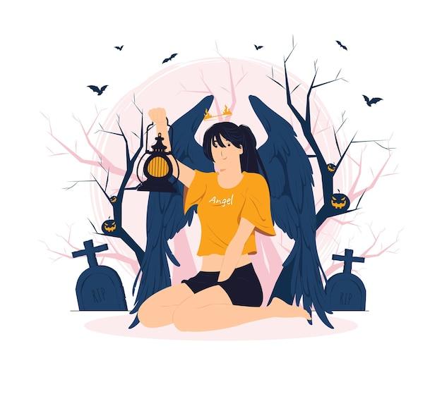 Gefallener engel sitzt und hält eine laterne mitten im wald auf halloween-konzeptillustration
