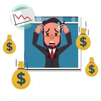 Gefallenes geld mit ernstem geschäftsmann