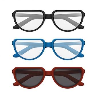 Gefaltete brille mit bunten rahmen - schwarz, blau, rot. illustration der eleganten klassischen brille zum lesen oder sonnenschutz mit transparenter linse lokalisiert auf weißem hintergrund