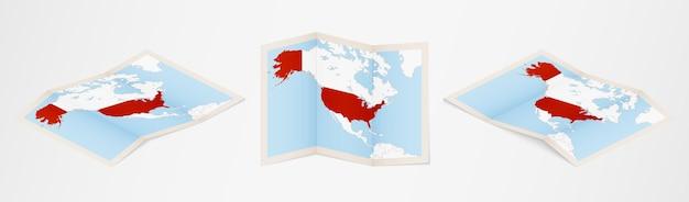 Gefaltete karte der usa in drei verschiedenen versionen.