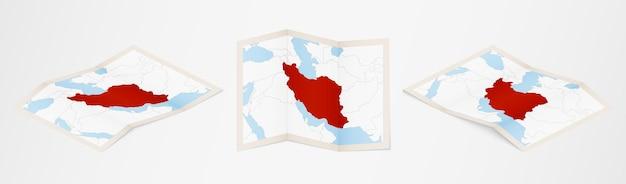 Gefaltete karte des iran in drei verschiedenen versionen. vektorkarte des iran.
