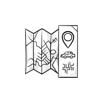 Gefaltete karte mit zeiger und auto handgezeichnete umriss-doodle-symbol. führer und route, navigation und reisekonzept. vektorskizzenillustration für print, web, mobile und infografiken auf weißem hintergrund.