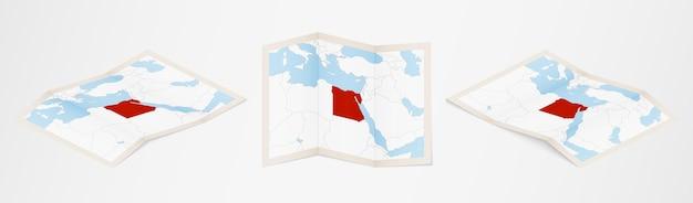 Gefaltete karte von ägypten in drei verschiedenen versionen.