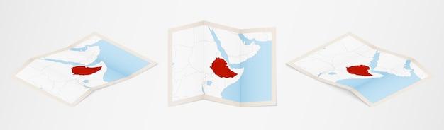 Gefaltete karte von äthiopien in drei verschiedenen versionen.