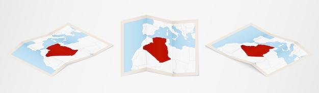 Gefaltete karte von algerien in drei verschiedenen versionen.