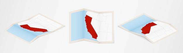Gefaltete karte von kalifornien in drei verschiedenen versionen.