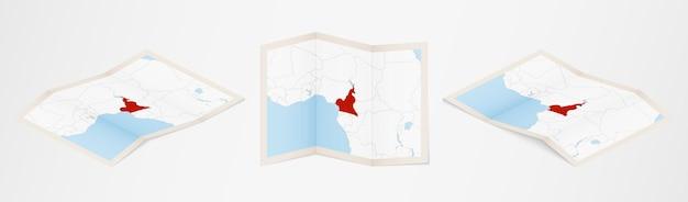 Gefaltete karte von kamerun in drei verschiedenen versionen.