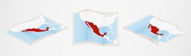 Gefaltete karte von mexiko in drei verschiedenen versionen.