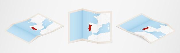 Gefaltete karte von portugal in drei verschiedenen versionen.