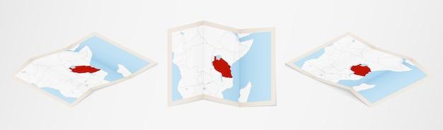 Gefaltete karte von tansania in drei verschiedenen versionen.