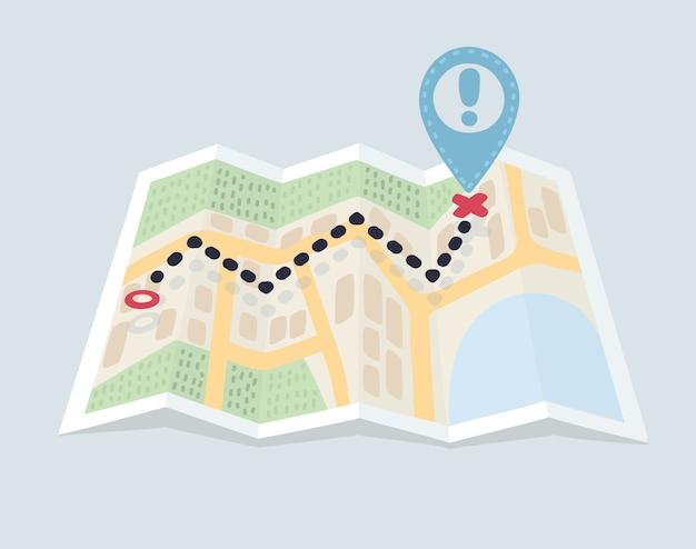 Gefaltete kartennavigation mit rotem farbpunktmarkierungsdesign
