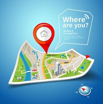 Gefaltete kartennavigation mit rotem farbpunktmarkierungshintergrund