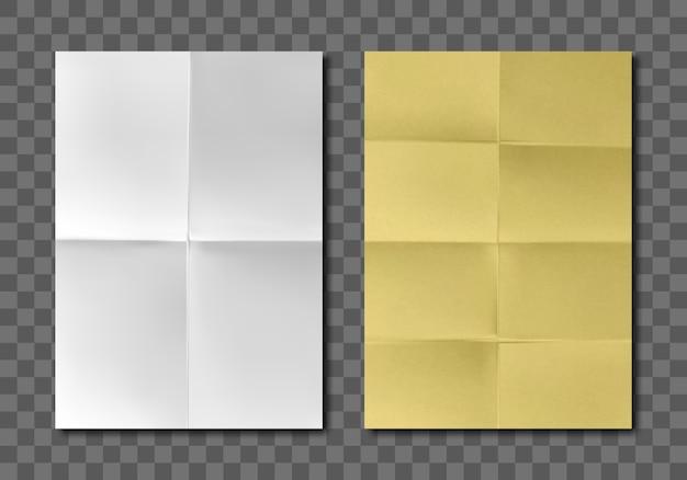 Gefaltete leere weiße gelbe papierblätter