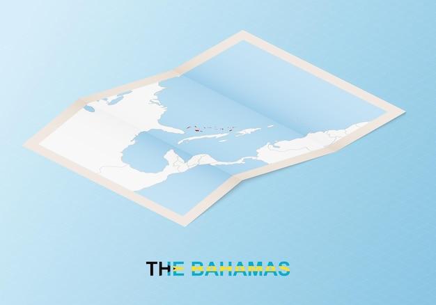 Gefaltete papierkarte der bahamas mit nachbarländern im isometrischen stil.