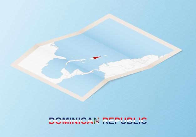 Gefaltete papierkarte der dominikanischen republik mit nachbarländern im isometrischen stil.