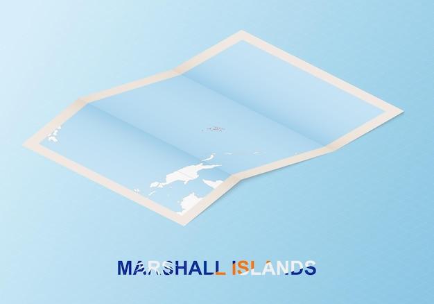 Gefaltete papierkarte der marshallinseln mit nachbarländern im isometrischen stil.