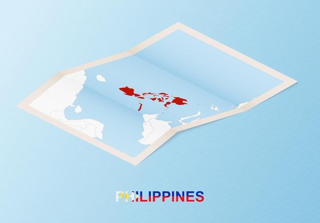 Gefaltete papierkarte der philippinen mit nachbarländern im isometrischen stil.