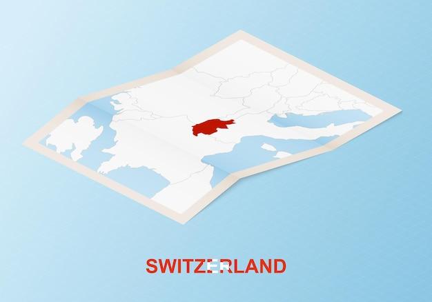Gefaltete papierkarte der schweiz mit nachbarländern im isometrischen stil.
