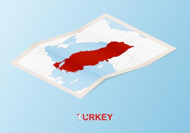 Gefaltete papierkarte der türkei mit nachbarländern im isometrischen stil.