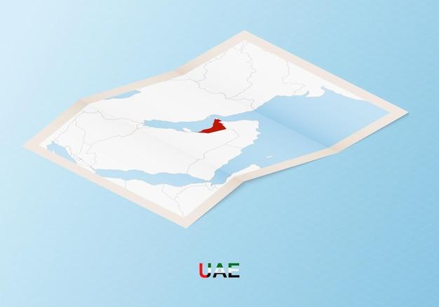 Gefaltete papierkarte der vereinigten arabischen emirate mit nachbarländern im isometrischen stil
