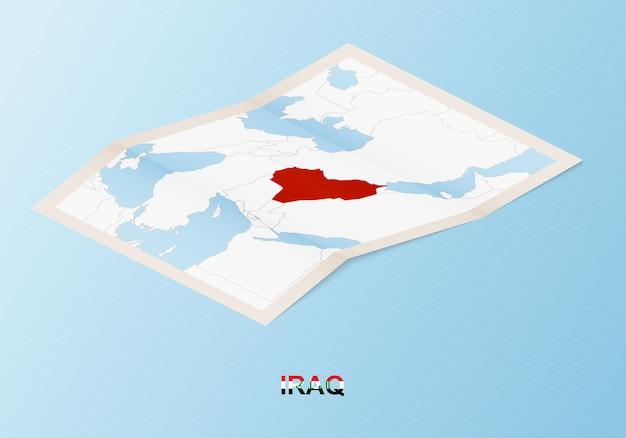 Gefaltete papierkarte des irak mit nachbarländern im isometrischen stil.