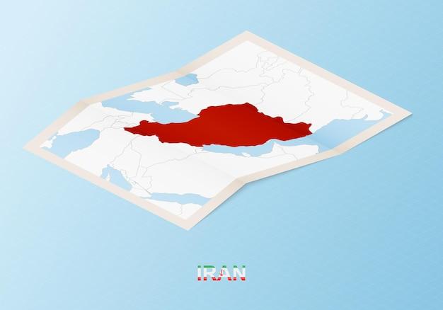 Gefaltete papierkarte des iran mit nachbarländern im isometrischen stil.
