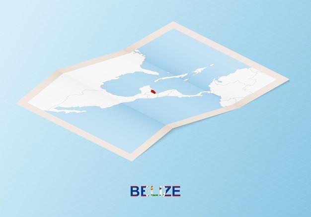 Gefaltete papierkarte von belize mit nachbarländern im isometrischen stil.