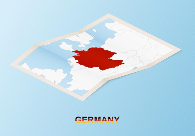 Gefaltete papierkarte von deutschland mit nachbarländern im isometrischen stil.