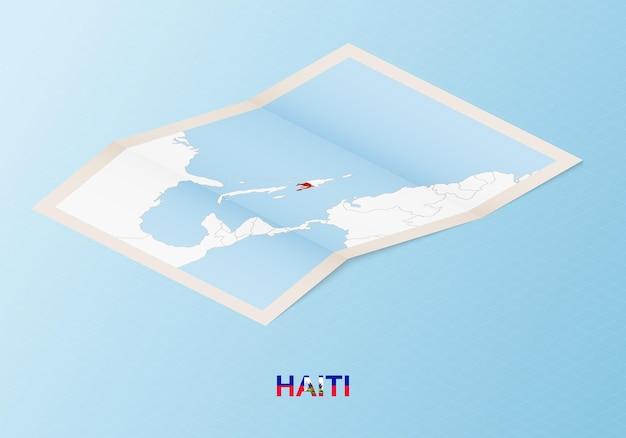 Gefaltete papierkarte von haiti mit nachbarländern im isometrischen stil.
