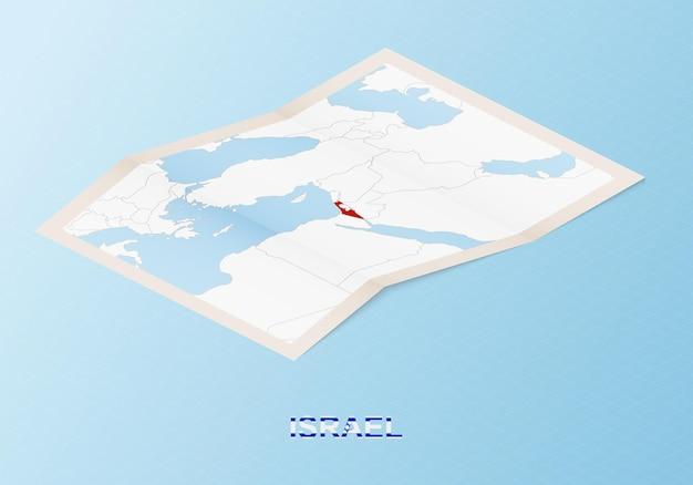 Gefaltete papierkarte von israel mit nachbarländern im isometrischen stil.