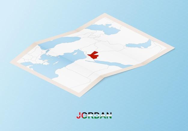 Gefaltete papierkarte von jordanien mit nachbarländern im isometrischen stil.