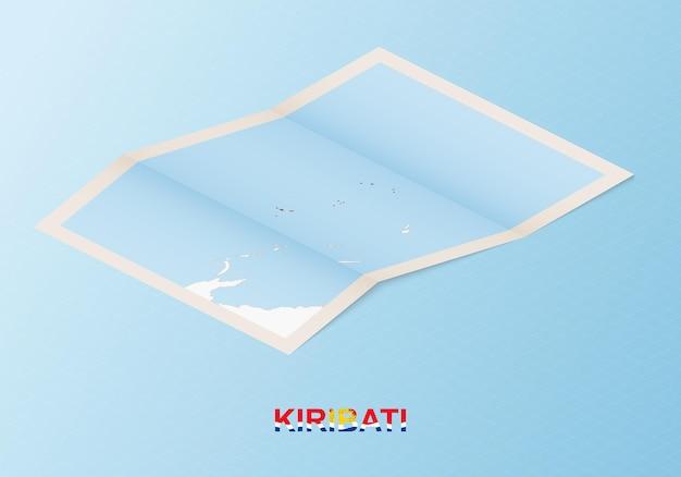 Gefaltete papierkarte von kiribati mit nachbarländern im isometrischen stil.