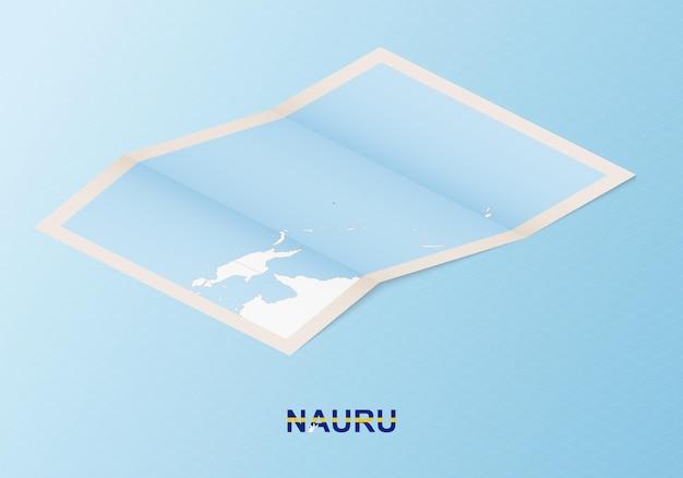 Gefaltete papierkarte von nauru mit nachbarländern im isometrischen stil.