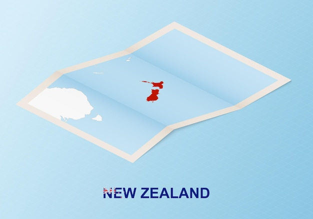 Gefaltete papierkarte von neuseeland mit nachbarländern im isometrischen stil.