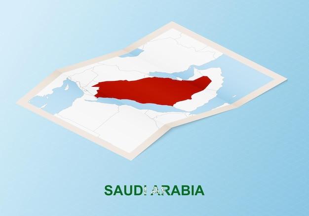 Gefaltete papierkarte von saudi-arabien mit nachbarländern im isometrischen stil.