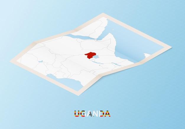Gefaltete papierkarte von uganda mit nachbarländern im isometrischen stil.