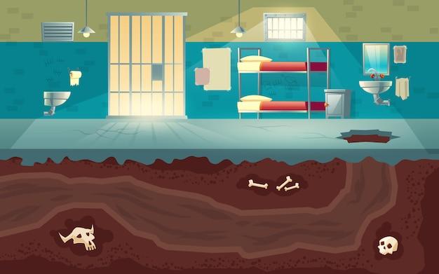Gefangene oder gefährliche kriminelle gruppieren entweichen vom gefängnis zum freiheitskarikaturkonzept mit leerem gefängniszelleninnenraum, loch, das im zementboden gelocht wird und untertagetunnel gruben in der bodenillustration