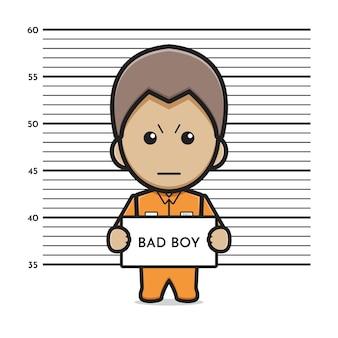 Gefangener böser junge cartoon symbol vektor-illustration. entwerfen sie isolierten flachen cartoon-stil