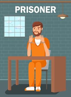 Gefangener, der in der gefängnis-zellen-flachen plakat-schablone sitzt