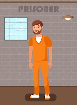 Gefangener mann in gefängniszelle flach plakat vorlage