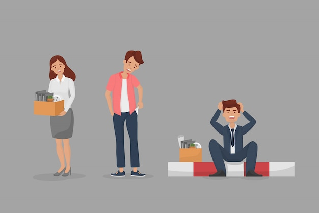 Gefeuertes zeichensatzkonzept. arbeitslose traurige arbeitnehmerin, angestellte mann zeigt leere tasche ohne geld und arbeitsloser manager